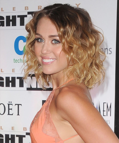 Miley Cyrus Medium Wavy Bob Hairstyle - Dark Brunette - side view 2