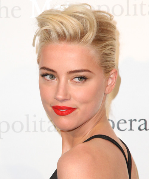 Amber Heard Updo Medium Straight Formal Updo Hairstyle - Light Blonde (Champagne) Hair Color - side view