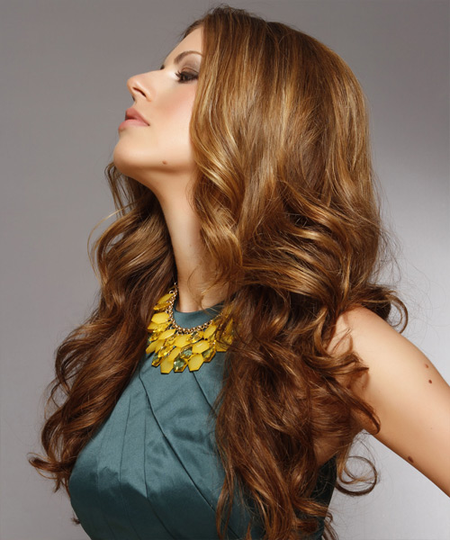Long Wavy Formal Hairstyle - Medium Brunette (Caramel) Hair Color - side on view