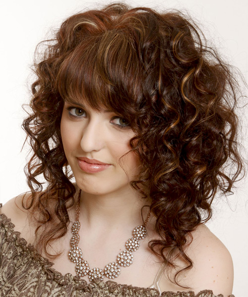 Medium Curly Casual Hairstyle - Dark Brunette (Mocha) Hair Color - side view