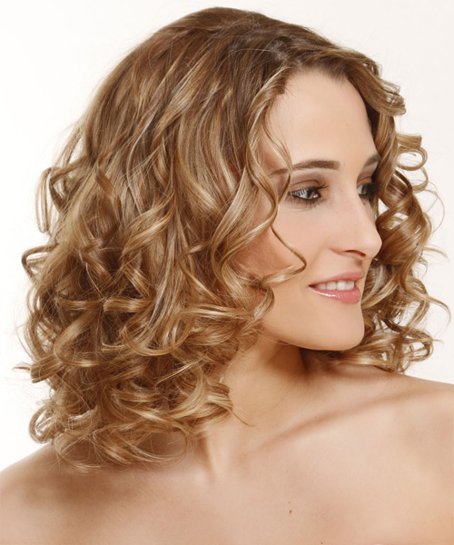 Medium Curly Formal Hairstyle - Dark Blonde (Golden) - side view 2