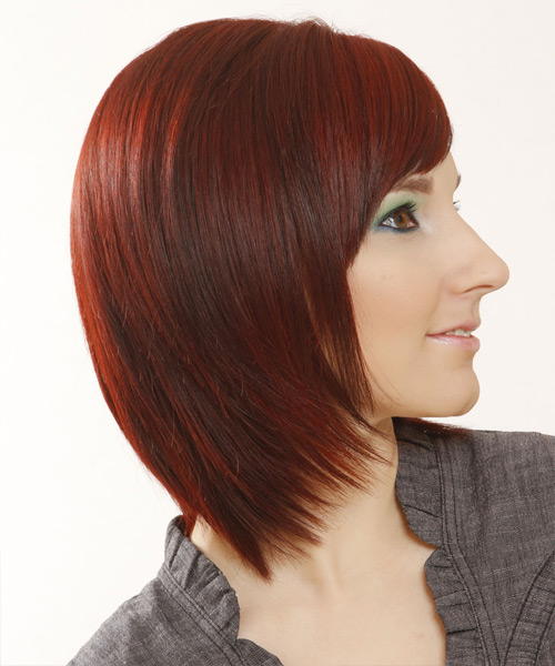 Medium Straight Formal Bob with Side Swept Bangs - Medium Red - side on view