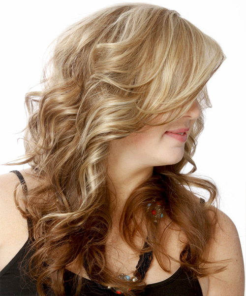 Long Wavy Formal Hairstyle with Side Swept Bangs - Medium Blonde (Chestnut) Hair Color - side on view