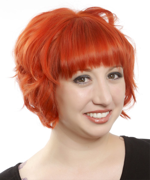 Short Wavy Formal Hairstyle - Orange - side view 2