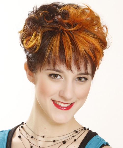 Short Curly Formal  with Layered Bangs - Dark Brunette (Ginger) - side on view