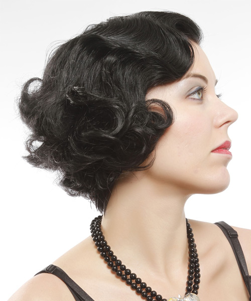 Short Curly Formal Bob - Black - side on view