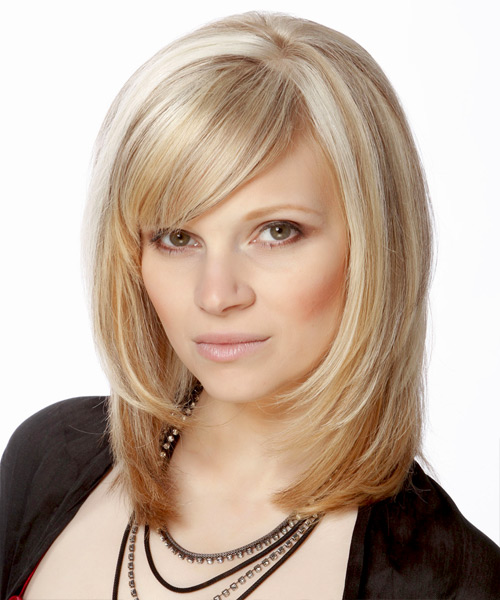 Medium Straight Formal Hairstyle with Side Swept Bangs - Light Blonde (Champagne) Hair Color - side on view