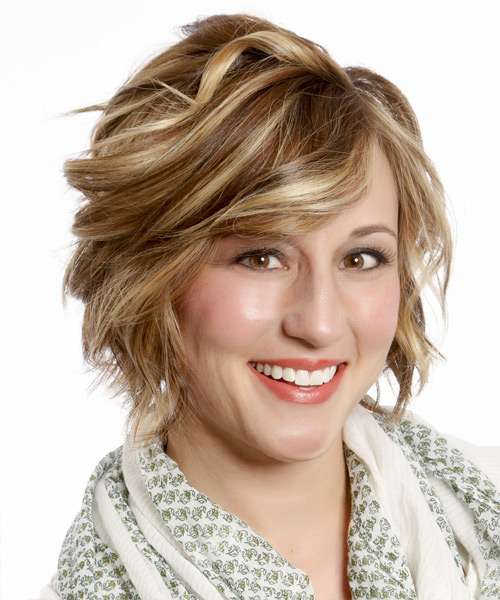 Short Wavy Formal Bob with Side Swept Bangs - Medium Brunette (Caramel) - side on view
