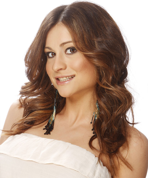Long Wavy Casual Hairstyle - Medium Brunette (Chestnut) Hair Color - side on view