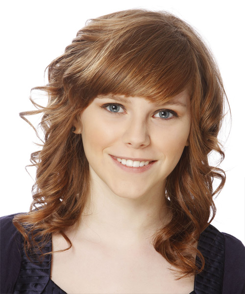 Medium Curly Formal Hairstyle with Side Swept Bangs - Light Brunette (Caramel) Hair Color - side on view