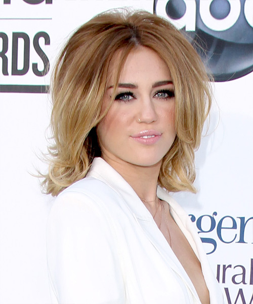 Miley Cyrus Medium Straight Formal Bob Hairstyle - Light Brunette (Caramel) Hair Color - side on view