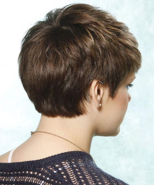 Short Straight Casual Hairstyle with Side Swept Bangs - Light Brunette Hair Color - side on view