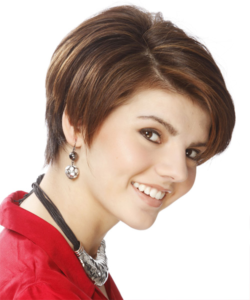 Short Straight Formal Hairstyle with Side Swept Bangs - Light Brunette Hair Color - side on view
