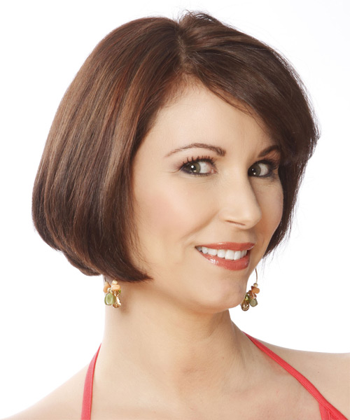Short Straight Formal Bob Hairstyle with Side Swept Bangs - Medium Brunette (Chocolate) Hair Color - side on view