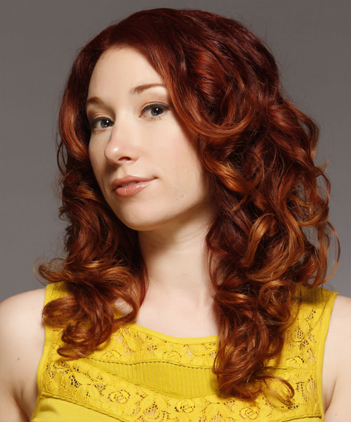 Long Curly Casual Hairstyle - Medium Red (Copper) - side view 2