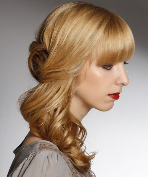 Curly Formal Half Up Hairstyle with Blunt Cut Bangs - Dark Blonde (Honey) Hair Color - side on view