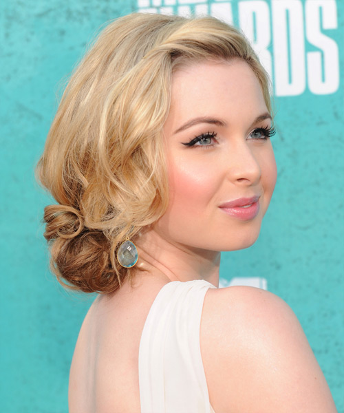 Kirsten Prout - Casual Updo Medium Curly Hairstyle - side view