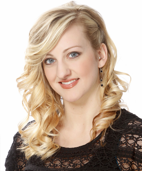 Long Curly Formal Hairstyle - Light Blonde (Golden) - side view 2