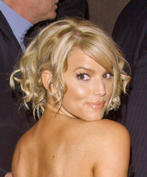 Jessica Simpson Curly Formal Updo Hairstyle with Side Swept Bangs - Light Blonde Hair Color - side on view