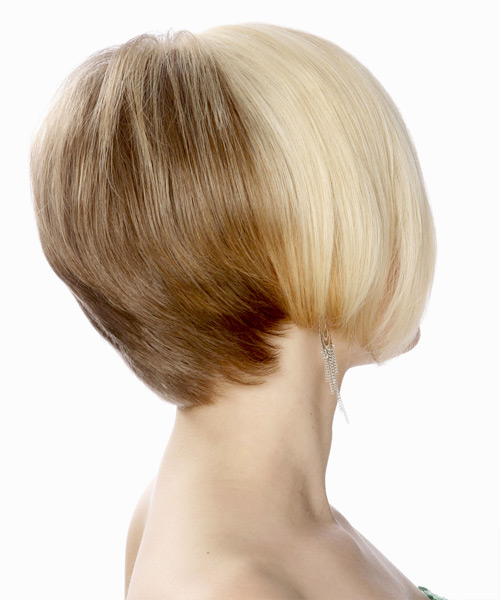 Short Straight Formal Bob Hairstyle - Light Blonde (Platinum) - side view