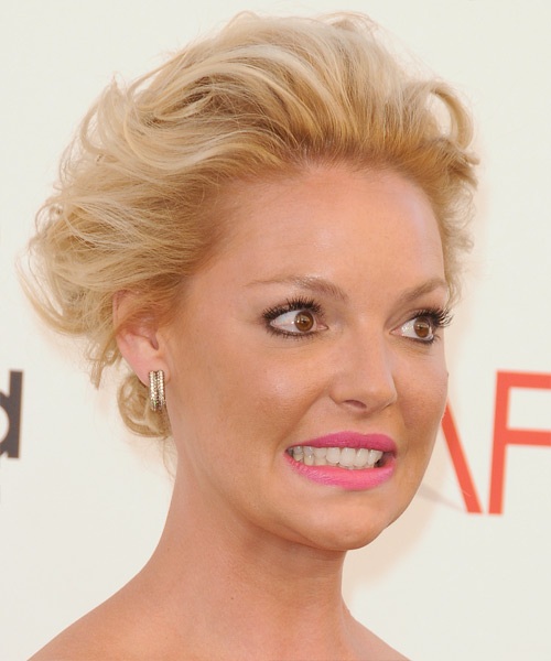 Katherine Heigl Formal Curly Updo Hairstyle - Medium Blonde (Golden) - side view