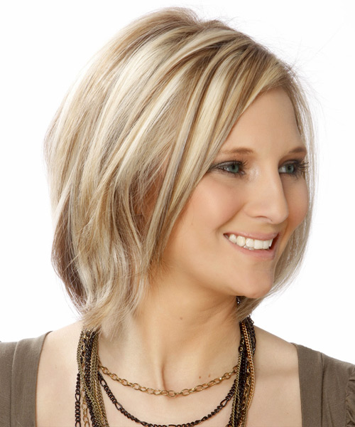 Short Straight Casual Bob Hairstyle - Light Blonde (Ash) Hair Color - side on view