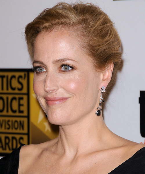 Gillian Anderson Casual Straight Updo Hairstyle - Medium Red (Copper) - side view 2
