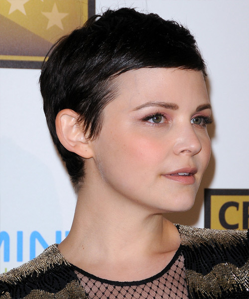 Ginnifer Goodwin Short Straight Formal Pixie Hairstyle - Dark Brunette Hair Color - side on view