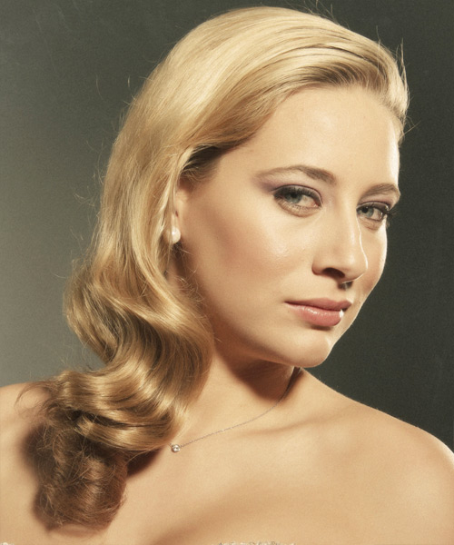 Long Wavy Formal Hairstyle - Dark Blonde (Golden) - side view 2