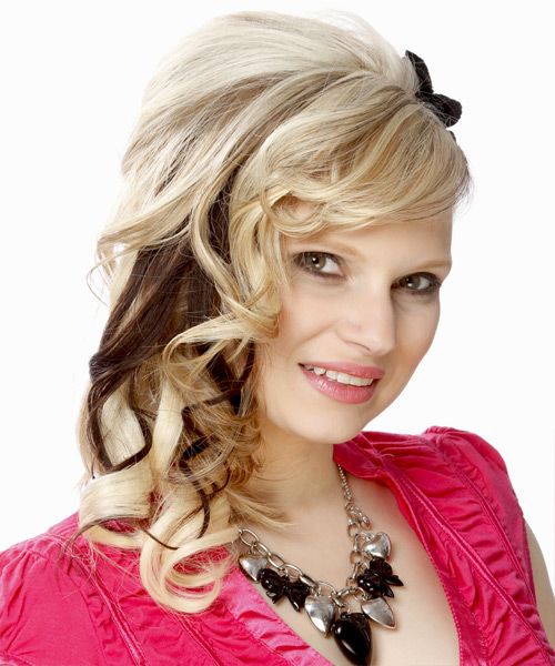 Curly Formal Half Up Hairstyle with Side Swept Bangs - Light Blonde (Platinum) Hair Color - side on view