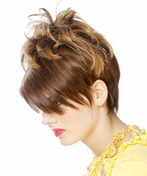 Short Straight Alternative Emo Hairstyle with Side Swept Bangs - Medium Brunette (Chestnut) Hair Color - side on view