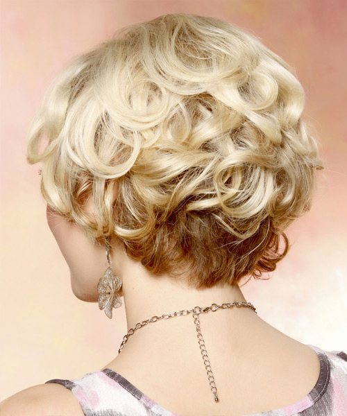 Short Curly Formal Bob Hairstyle with Side Swept Bangs - Light Blonde (Golden) Hair Color - side on view