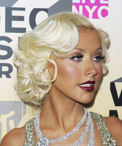 Christina Aguilera Medium Wavy Formal Hairstyle - Light Blonde (Platinum) Hair Color - side on view