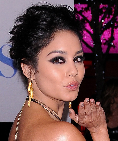 Vanessa Hudgens Curly Casual Updo Hairstyle - Black Hair Color - side on view