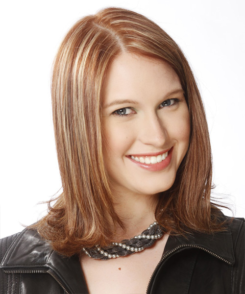 Medium Straight Formal Hairstyle - Medium Brunette (Golden) - side view 2