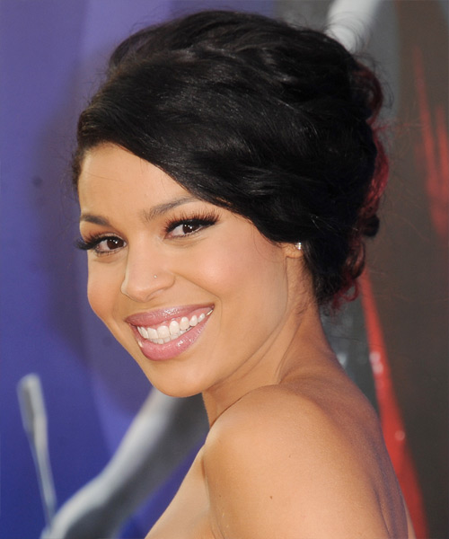 Jordin Sparks Curly Formal Updo Hairstyle with Side Swept Bangs - Black Hair Color - side on view