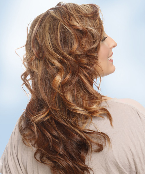 Long Wavy Casual Hairstyle with Side Swept Bangs - Medium Brunette (Copper) Hair Color - side on view