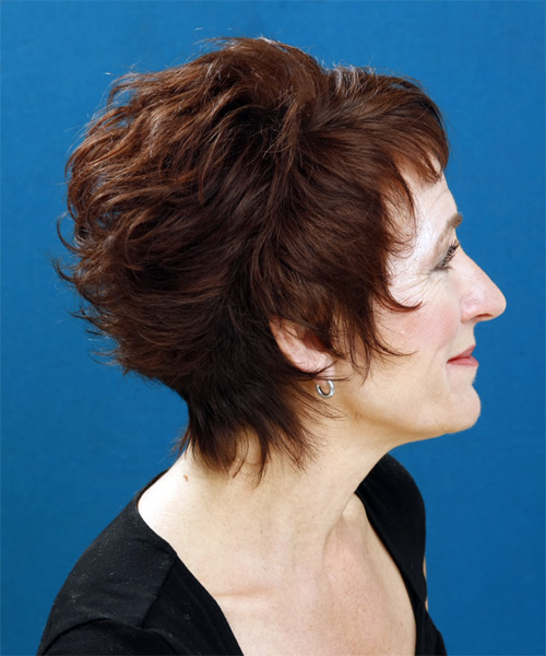 Short Wavy Formal Hairstyle with Layered Bangs - Medium Brunette Hair Color - side on view