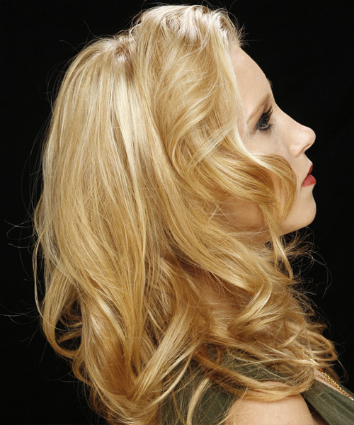 Long Wavy Casual Hairstyle - Light Blonde Hair Color - side on view