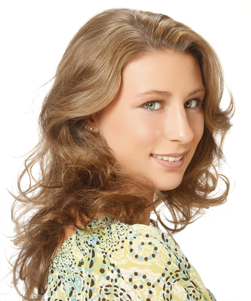 Medium Wavy Casual Hairstyle - Light Brunette (Golden) Hair Color - side on view