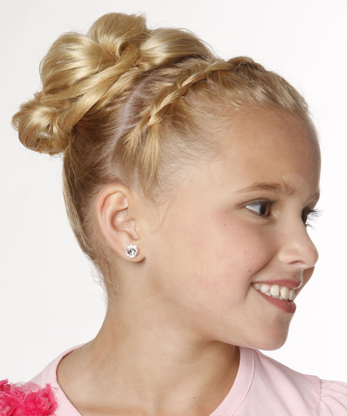 Formal Straight Updo Hairstyle - Light Blonde (Golden) - side view 2