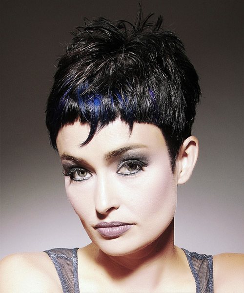 Short Straight Alternative Hairstyle with Razor Cut Bangs - Black (Ash) Hair Color - side on view