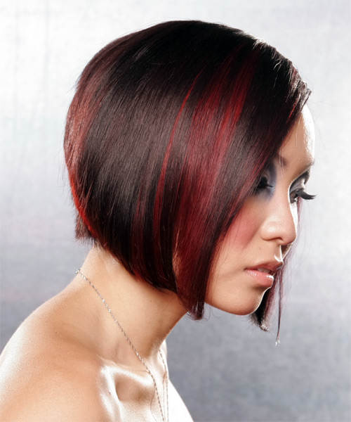 Medium Straight Alternative Bob Hairstyle - Dark Red - side view 2