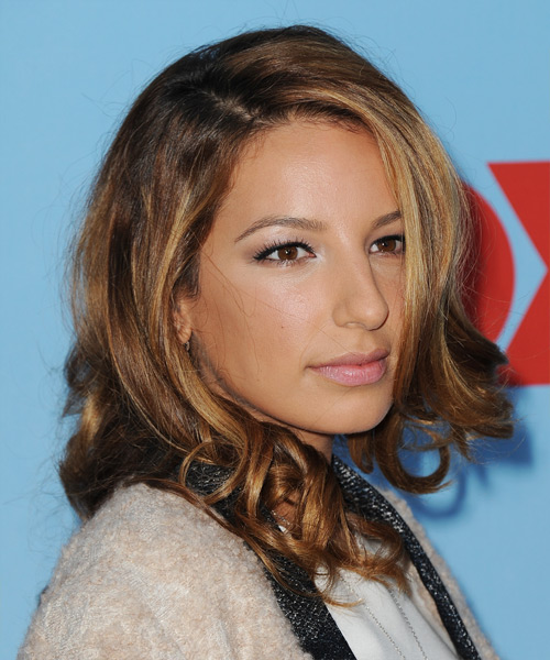 Vanessa Lengies Medium Wavy Hairstyle - Dark Blonde (Copper) - side view