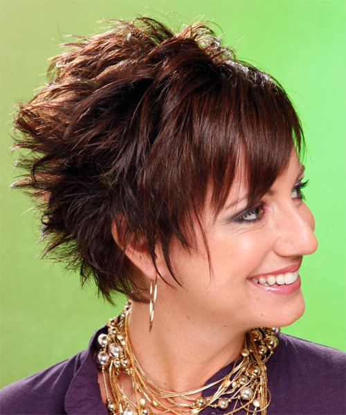 Short Straight Alternative Hairstyle (Chocolate) - side on view