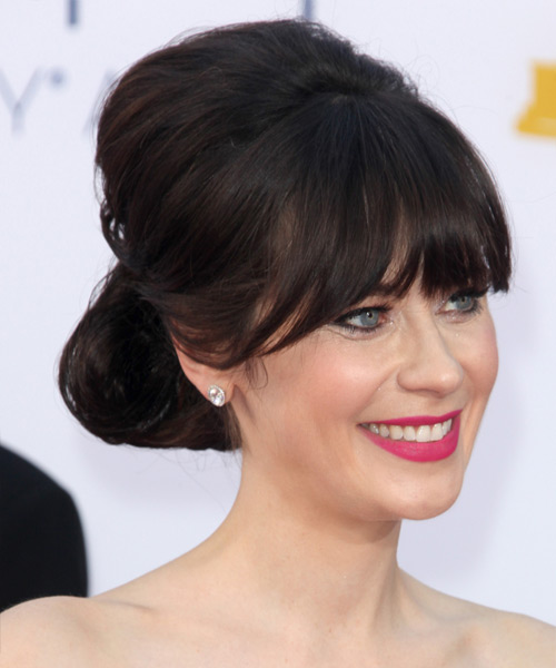 Zooey Deschanel Straight Formal Updo Hairstyle with Blunt Cut Bangs - Dark Brunette (Mocha) Hair Color - side on view
