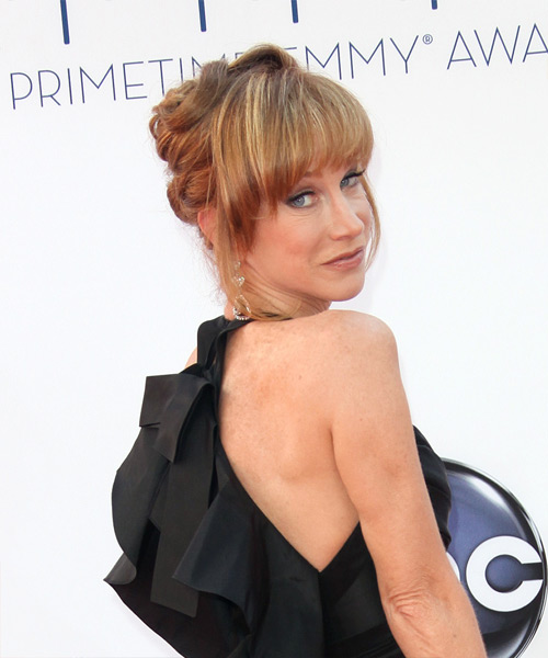 Kathy Griffin Straight Formal Updo Hairstyle with Blunt Cut Bangs - Dark Blonde (Copper) Hair Color - side on view