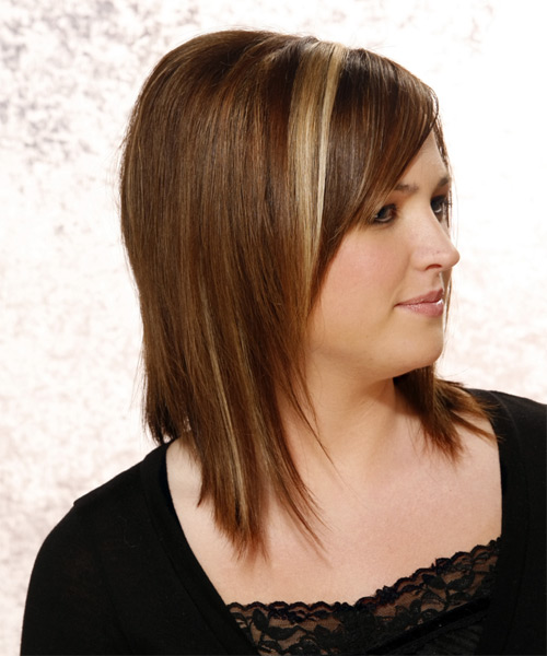 Long Straight Formal Hairstyle with Side Swept Bangs - Dark Brunette (Chestnut) Hair Color - side on view
