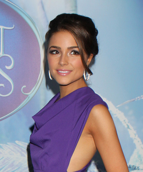 Olivia Culpo Straight Formal Updo Hairstyle with Side Swept Bangs - Dark Brunette Hair Color - side on view