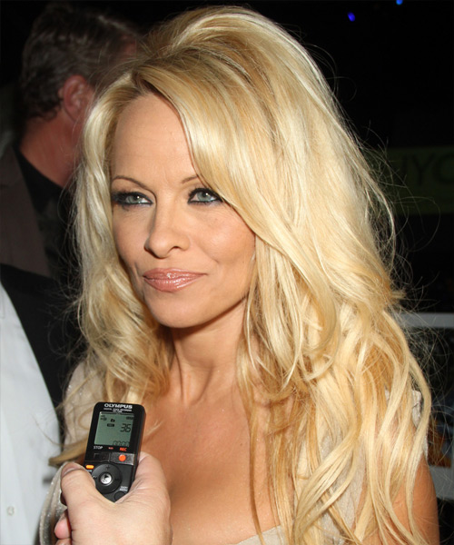 Pamela Anderson Long Straight Hairstyle - Light Blonde (Honey) - side view